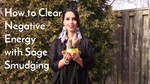 clear negative energy with sage smudging